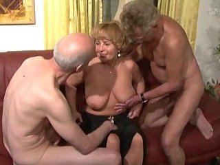 Natural Older  Threesome Wife