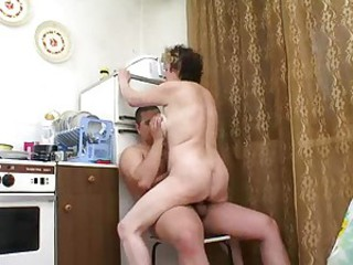 Amateur Homemade Kitchen Mom Old And Young Riding