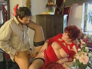 Chubby Clothed Mom Old And Young Redhead Stockings