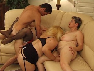 Chubby French Hardcore Mature Orgy  Stockings