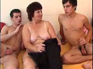 Chubby Mom Old And Young  Threesome