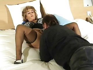 Licking Lingerie Mature Older Stockings