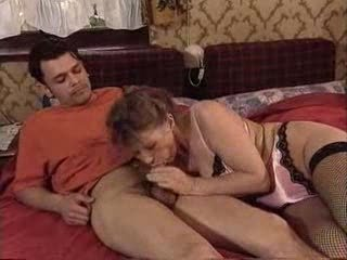 Blowjob Lingerie Mom Old And Young Stockings