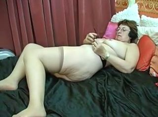 Amateur Chubby Glasses Masturbating Stockings