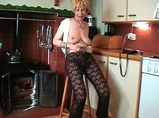 Big Tits British European Kitchen Natural Pantyhose  Solo