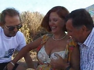 Mature Older Outdoor Threesome Wife