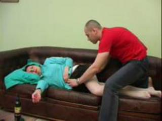 Amateur Drunk Mom Old And Young Sleeping
