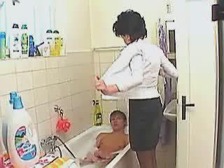 Bathroom Mom Old And Young Stripper