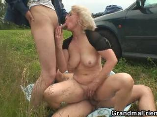 Blonde Blowjob Glasses Natural Old And Young Outdoor Threesome