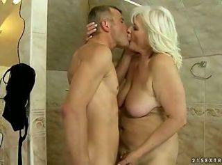 Bathroom Chubby Kissing Mom Old And Young