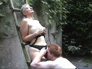 Glasses Licking Lingerie Mom Old And Young Outdoor