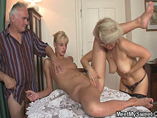 Family Glasses Nipples Old And Young Threesome