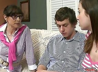 Family Glasses Mature Mom Old And Young Threesome