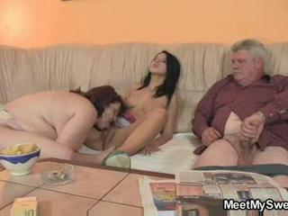 Family Licking Old And Young Threesome