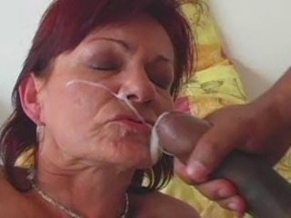Old lady cum facials
