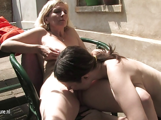 Lesbian Licking Old And Young Outdoor