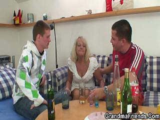 Drunk Family Mom Old And Young Threesome