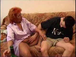 Amateur  Drunk Glasses Mom Old And Young Redhead