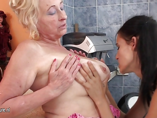 Bathroom Lesbian Natural Nipples Old And Young