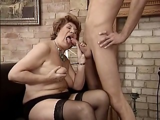 Blowjob Chubby European German Mom Old And Young  Stockings