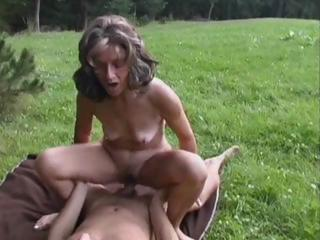 Amateur Mom Old And Young Outdoor Riding