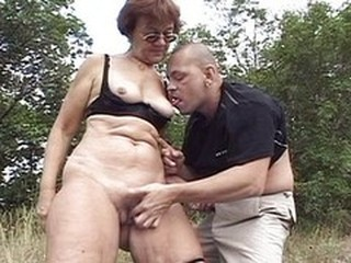 Amateur Glasses Licking Old And Young Outdoor