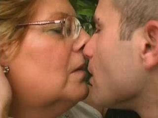 Glasses Kissing Mom Old And Young