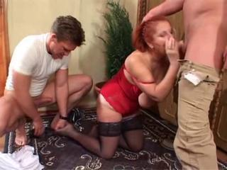Blowjob Old And Young  Stockings Threesome