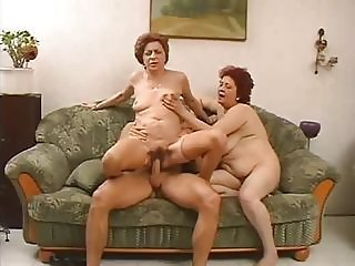 Old And Young Riding Threesome