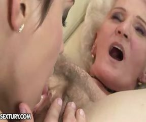 Clit Close up Hairy Lesbian Licking Old And Young Pussy