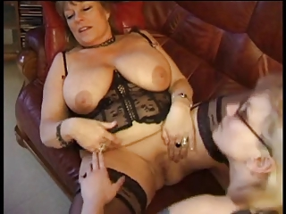 Big Tits Lesbian Lingerie Natural Pussy  Shaved Stockings