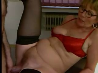Glasses Hairy Lingerie Stockings