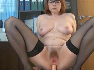 Chubby Dildo Glasses Hairy Masturbating Office Secretary Stockings Toy