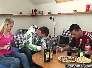 Blonde Drunk Family Jeans Mom Old And Young Threesome