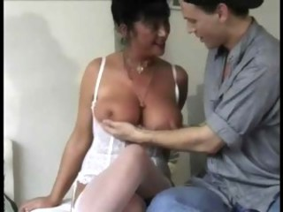 Big Tits Lingerie Mature Mom Natural Old And Young Stockings