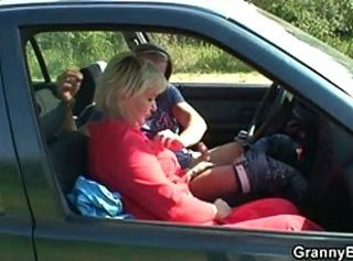 Car Handjob Mom Old And Young Outdoor