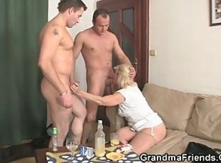 Blonde Blowjob Drunk Family Mom Old And Young Threesome