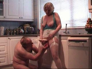Amateur Homemade Kitchen Mature Older  Stockings Toy Wife