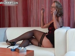 European German Glasses Legs Mature Smoking Stockings