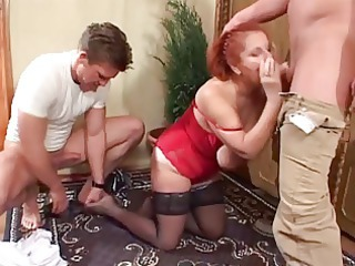 Big Tits Blowjob Mature Old And Young Redhead Stockings Threesome