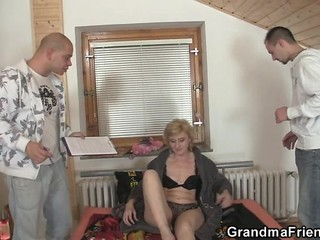 Family Lingerie Mom Old And Young Threesome