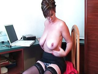 Big Tits Natural Office  Secretary Solo Stockings Stripper