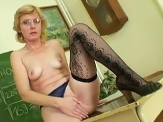 Glasses Masturbating Mature Small Tits Stockings Teacher
