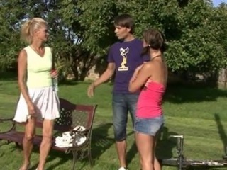 Family Mom Old And Young Outdoor Threesome