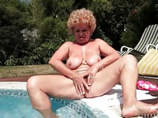 Big Tits Masturbating Natural Outdoor Pool Pornstar