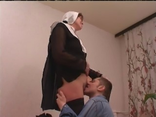 Clothed Licking Nun Uniform