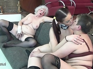 Family Lesbian Old And Young Stockings