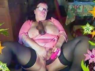 Dildo Glasses Masturbating  Solo Stockings Toy Webcam
