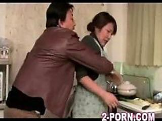 Asian Japanese Kitchen Mature Wife