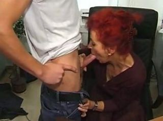 Blowjob Clothed Office Old And Young Redhead Secretary